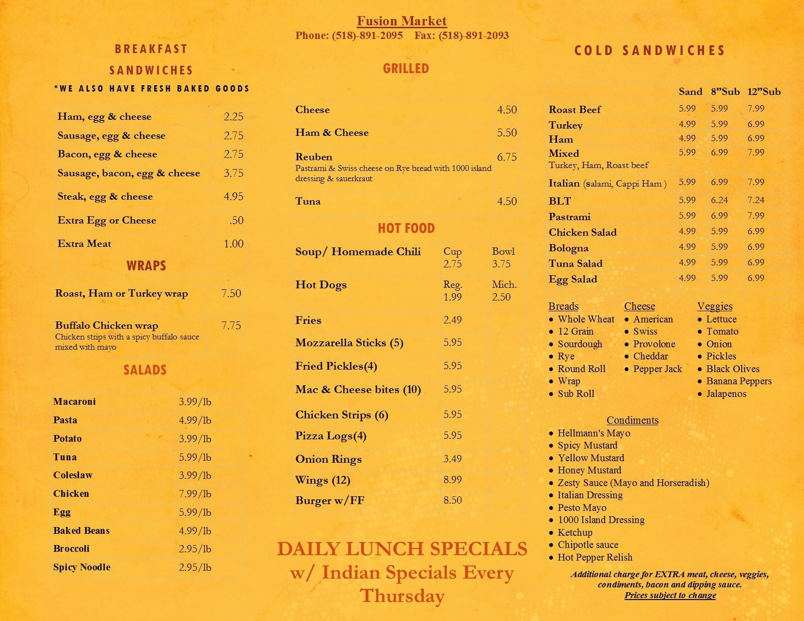 Fusion Market Deli Take-Out menu 2015_Saranac ake ny