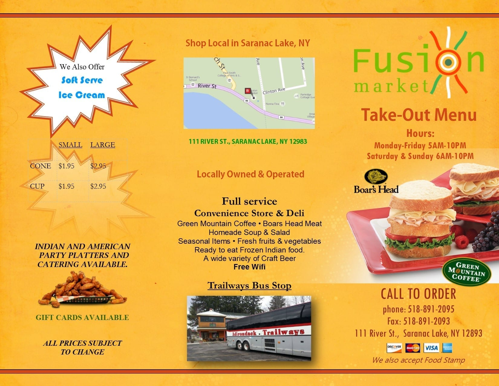 Fusion Market Deli Take-Out menu 2015_Saranac ake ny_front